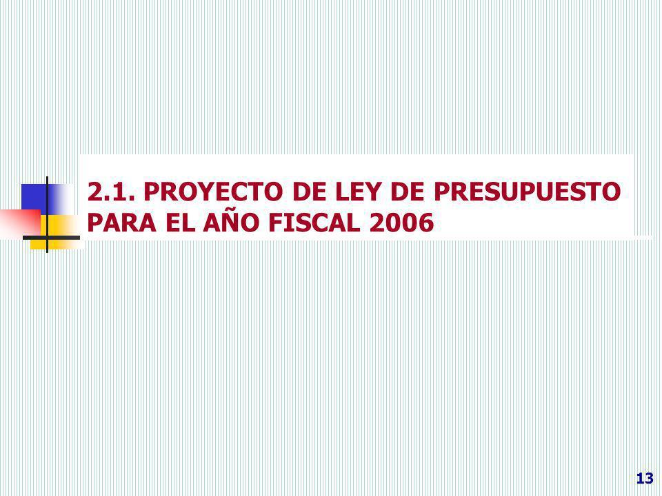 2.1. PROYECTO DE LEY DE PRESUPUESTO PARA EL AÑO FISCAL 2006