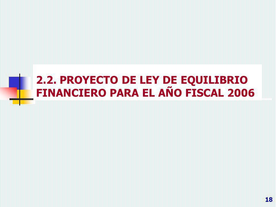 2.2. PROYECTO DE LEY DE EQUILIBRIO FINANCIERO PARA EL AÑO FISCAL 2006