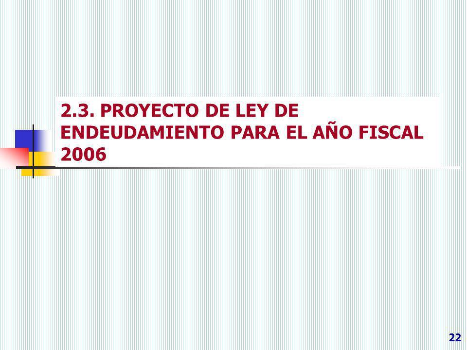2.3. PROYECTO DE LEY DE ENDEUDAMIENTO PARA EL AÑO FISCAL 2006
