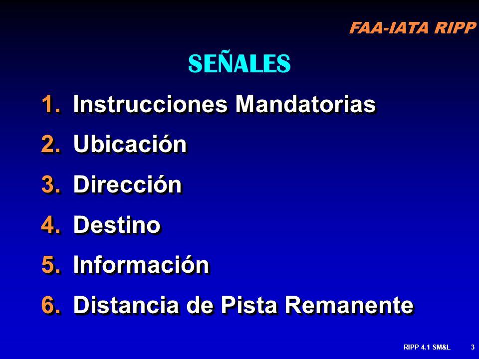 SEÑALES Instrucciones Mandatorias Ubicación Dirección Destino
