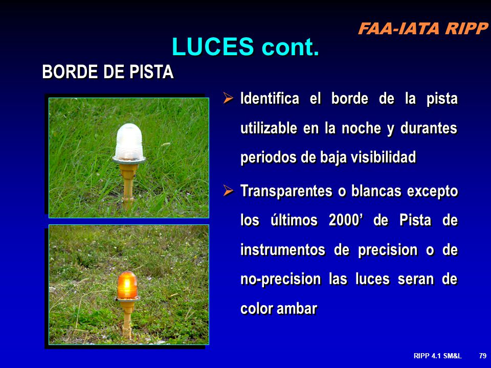 LUCES cont. BORDE DE PISTA
