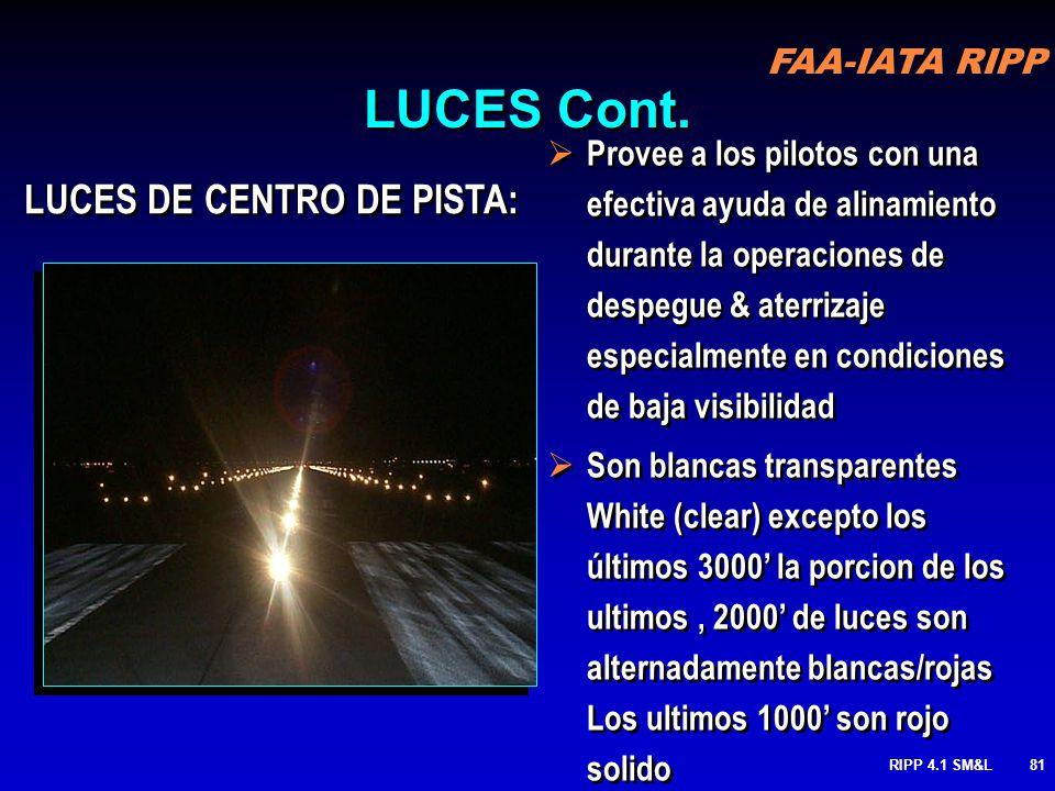 LUCES Cont. LUCES DE CENTRO DE PISTA: