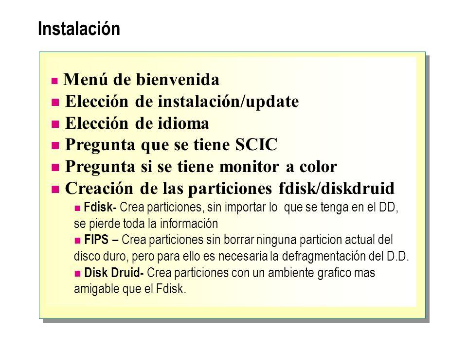 Instalación Elección de instalación/update Elección de idioma