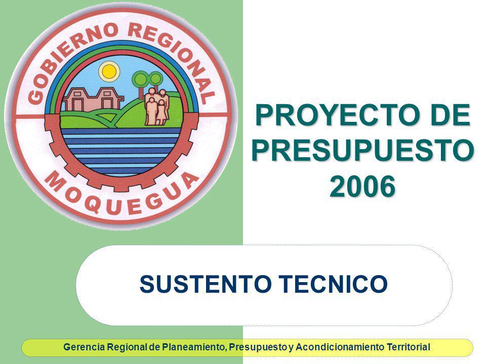 PROYECTO DE PRESUPUESTO 2006