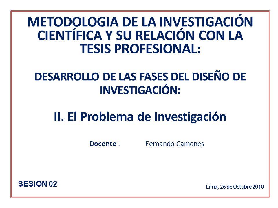 METODOLOGIA DE LA INVESTIGACIÓN CIENTÍFICA Y SU RELACIÓN CON LA TESIS PROFESIONAL: DESARROLLO DE LAS FASES DEL DISEÑO DE INVESTIGACIÓN: II. El Problema de Investigación
