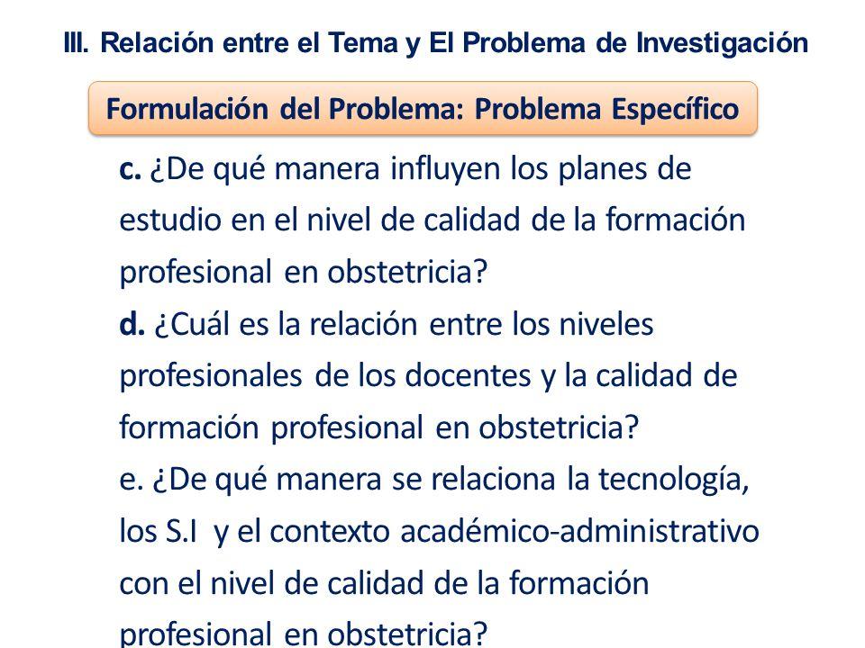 III. Relación entre el Tema y El Problema de Investigación