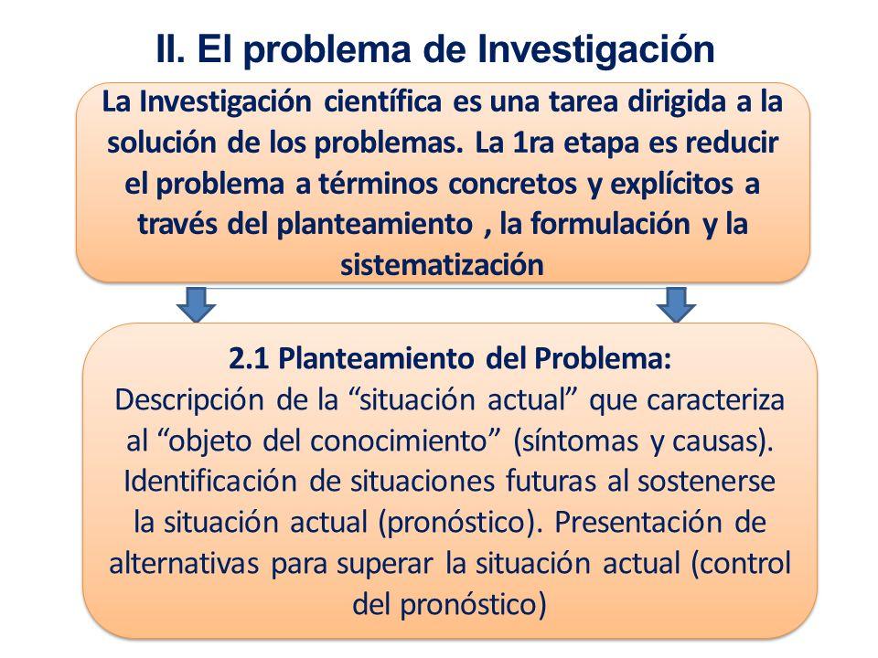 II. El problema de Investigación 2.1 Planteamiento del Problema: