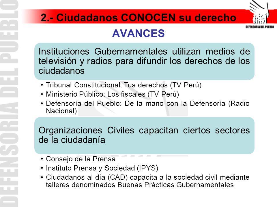 2.- Ciudadanos CONOCEN su derecho AVANCES