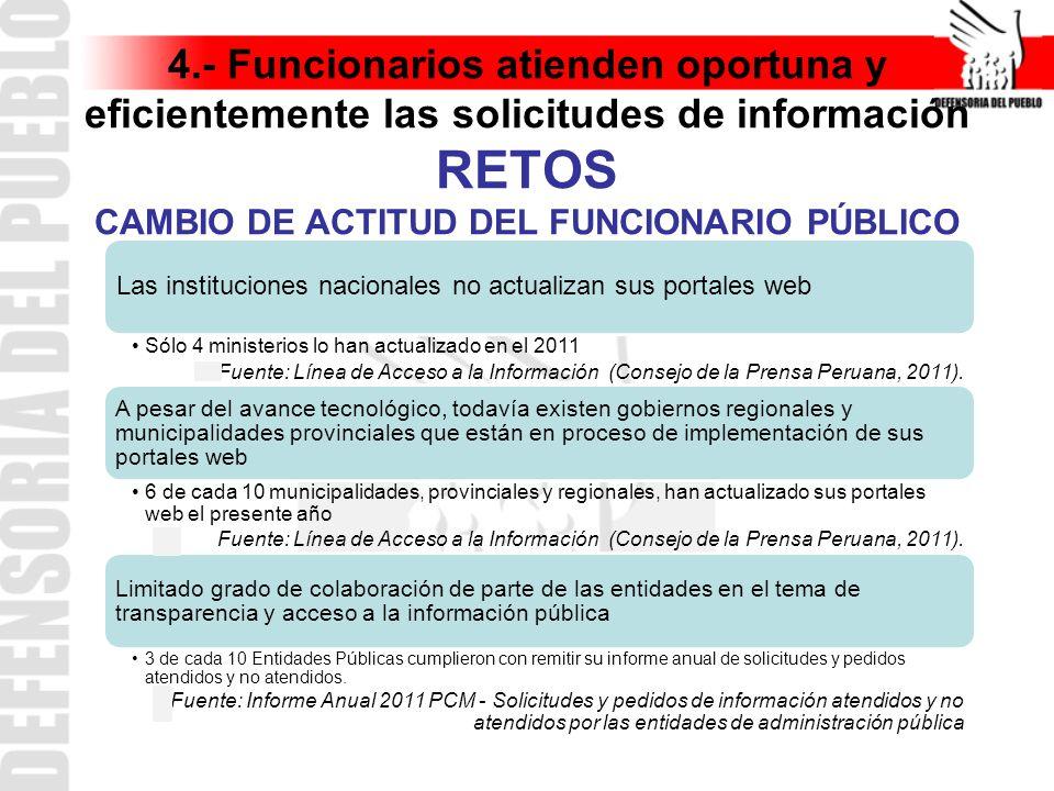 4.- Funcionarios atienden oportuna y eficientemente las solicitudes de información RETOS CAMBIO DE ACTITUD DEL FUNCIONARIO PÚBLICO
