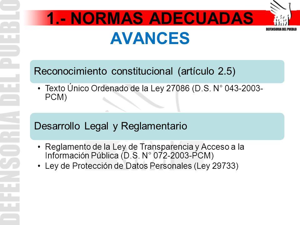 1.- NORMAS ADECUADAS AVANCES