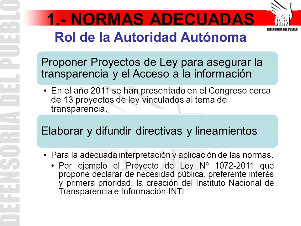 1.- NORMAS ADECUADAS Rol de la Autoridad Autónoma