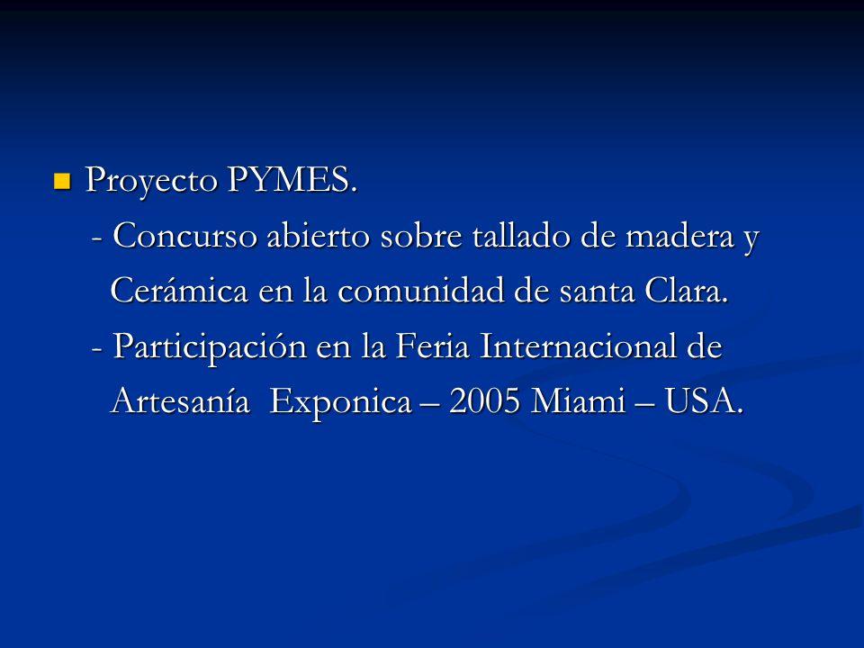 Proyecto PYMES. - Concurso abierto sobre tallado de madera y. Cerámica en la comunidad de santa Clara.