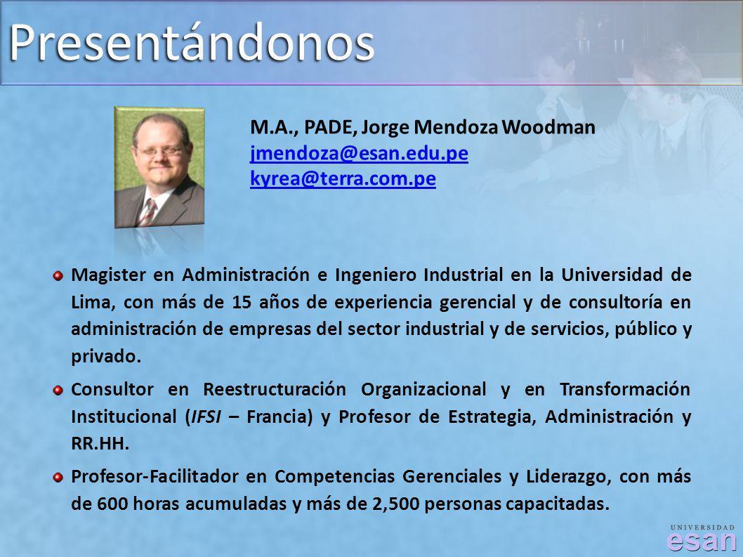 Presentándonos M.A., PADE, Jorge Mendoza Woodman jmendoza@esan.edu.pe