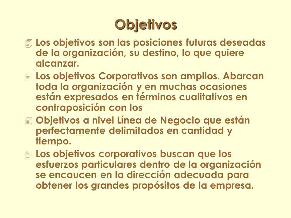 Objetivos Los objetivos son las posiciones futuras deseadas de la organización, su destino, lo que quiere alcanzar.