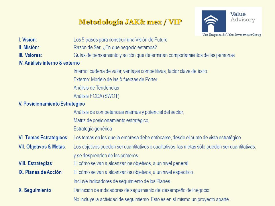 Metodología JAK& mex / VIP