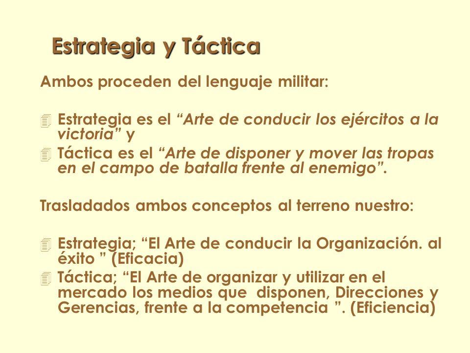 Estrategia y Táctica Ambos proceden del lenguaje militar: