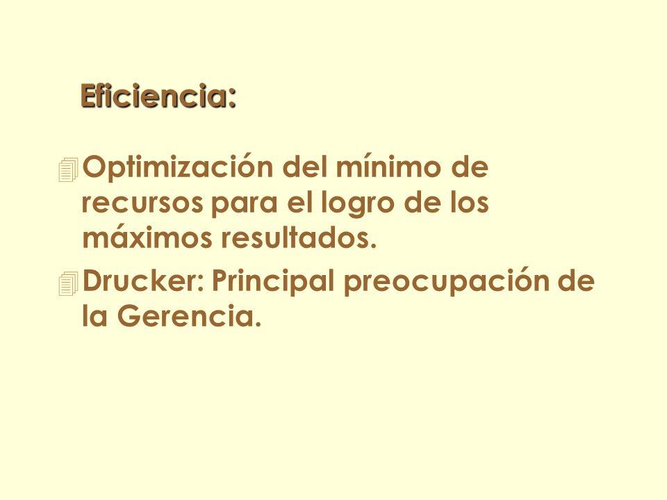 Eficiencia: Optimización del mínimo de recursos para el logro de los máximos resultados.