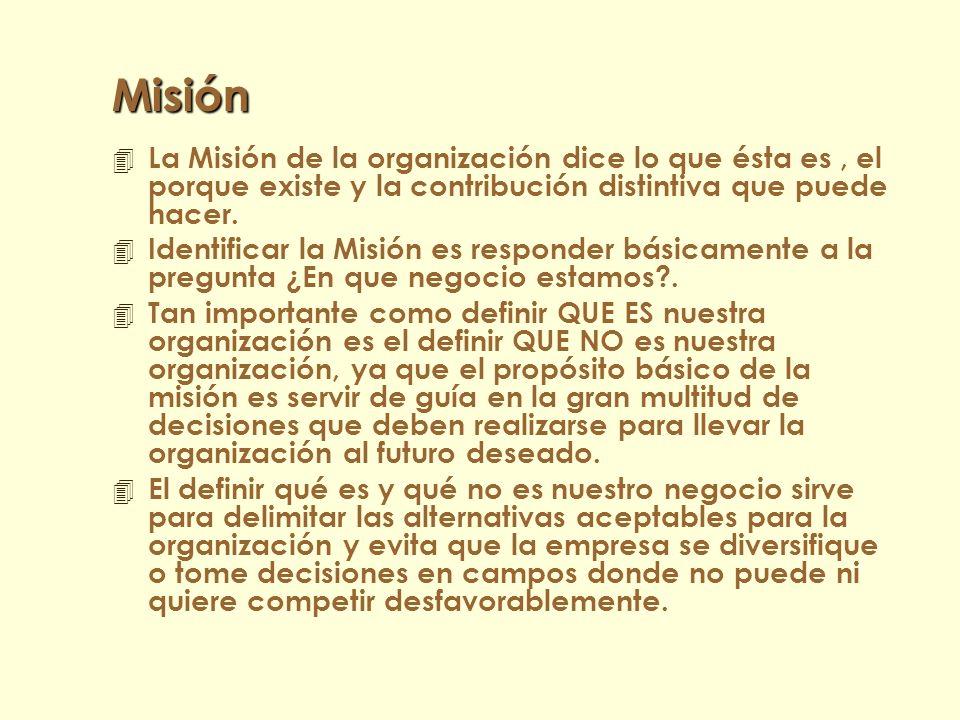 Misión La Misión de la organización dice lo que ésta es , el porque existe y la contribución distintiva que puede hacer.