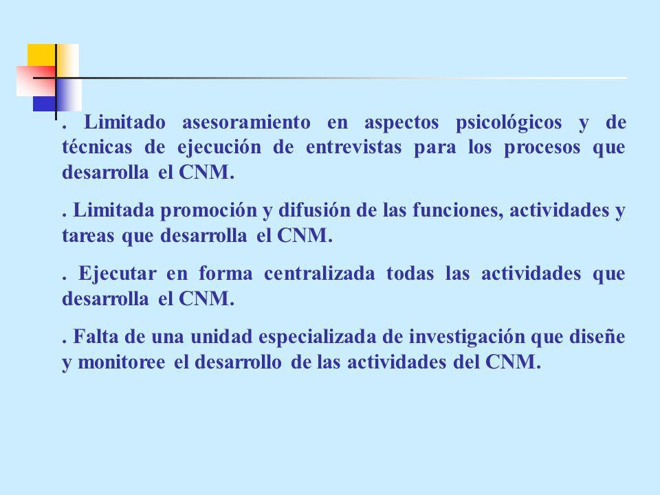 . Limitado asesoramiento en aspectos psicológicos y de técnicas de ejecución de entrevistas para los procesos que desarrolla el CNM.