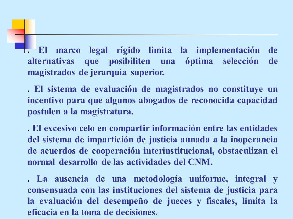 . El marco legal rígido limita la implementación de alternativas que posibiliten una óptima selección de magistrados de jerarquía superior.