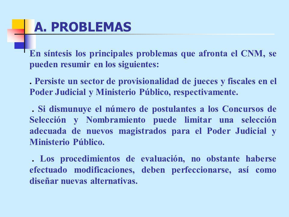 A. PROBLEMAS En síntesis los principales problemas que afronta el CNM, se pueden resumir en los siguientes: