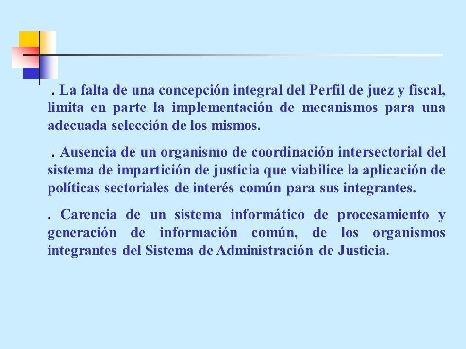. La falta de una concepción integral del Perfil de juez y fiscal, limita en parte la implementación de mecanismos para una adecuada selección de los mismos.