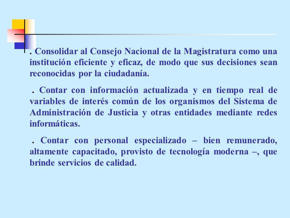 . Consolidar al Consejo Nacional de la Magistratura como una institución eficiente y eficaz, de modo que sus decisiones sean reconocidas por la ciudadanía.