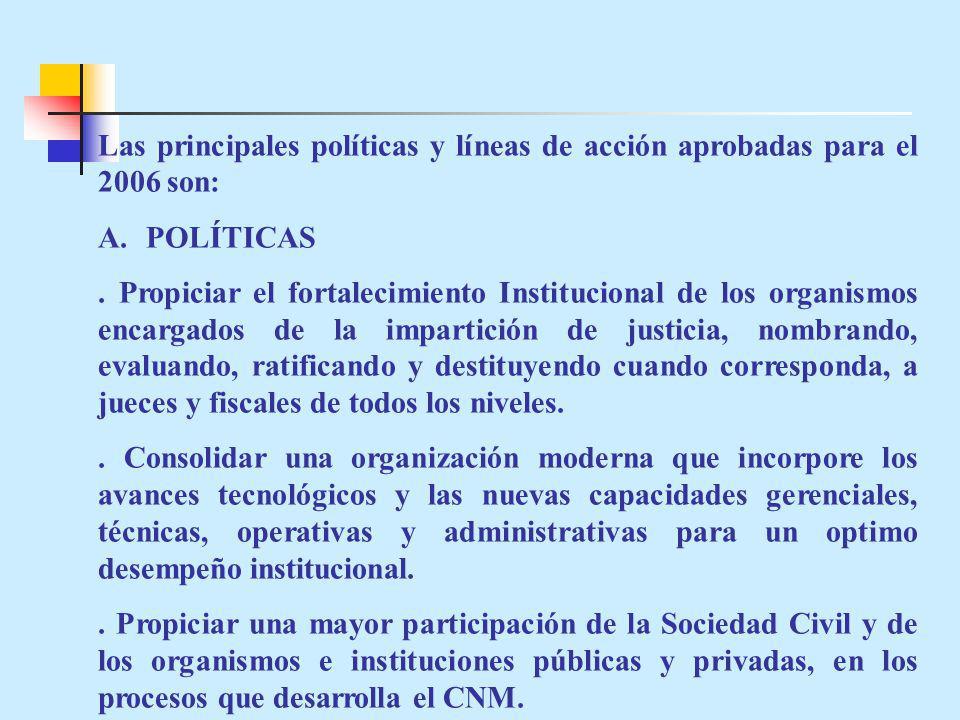 Las principales políticas y líneas de acción aprobadas para el 2006 son: