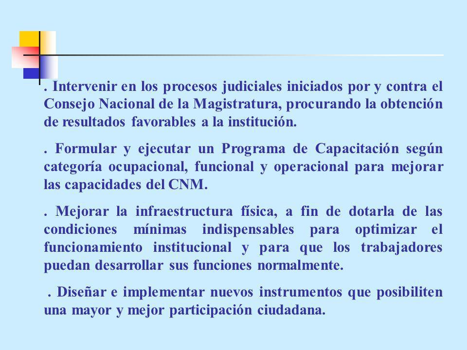. Intervenir en los procesos judiciales iniciados por y contra el Consejo Nacional de la Magistratura, procurando la obtención de resultados favorables a la institución.