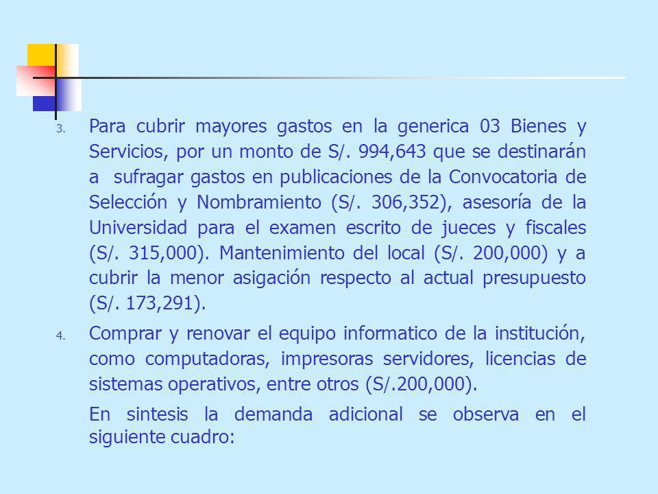 Para cubrir mayores gastos en la generica 03 Bienes y Servicios, por un monto de S/. 994,643 que se destinarán a sufragar gastos en publicaciones de la Convocatoria de Selección y Nombramiento (S/. 306,352), asesoría de la Universidad para el examen escrito de jueces y fiscales (S/. 315,000). Mantenimiento del local (S/. 200,000) y a cubrir la menor asigación respecto al actual presupuesto (S/. 173,291).