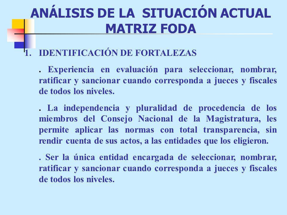 ANÁLISIS DE LA SITUACIÓN ACTUAL MATRIZ FODA
