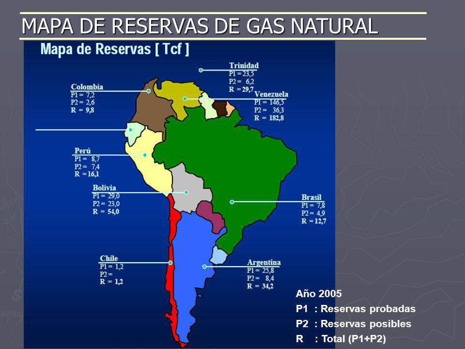 MAPA DE RESERVAS DE GAS NATURAL