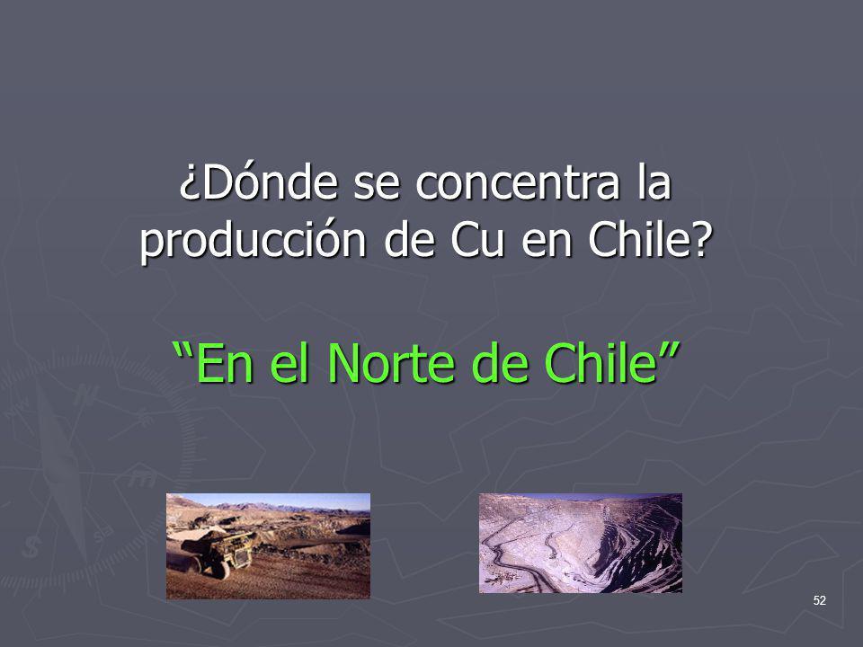 ¿Dónde se concentra la producción de Cu en Chile