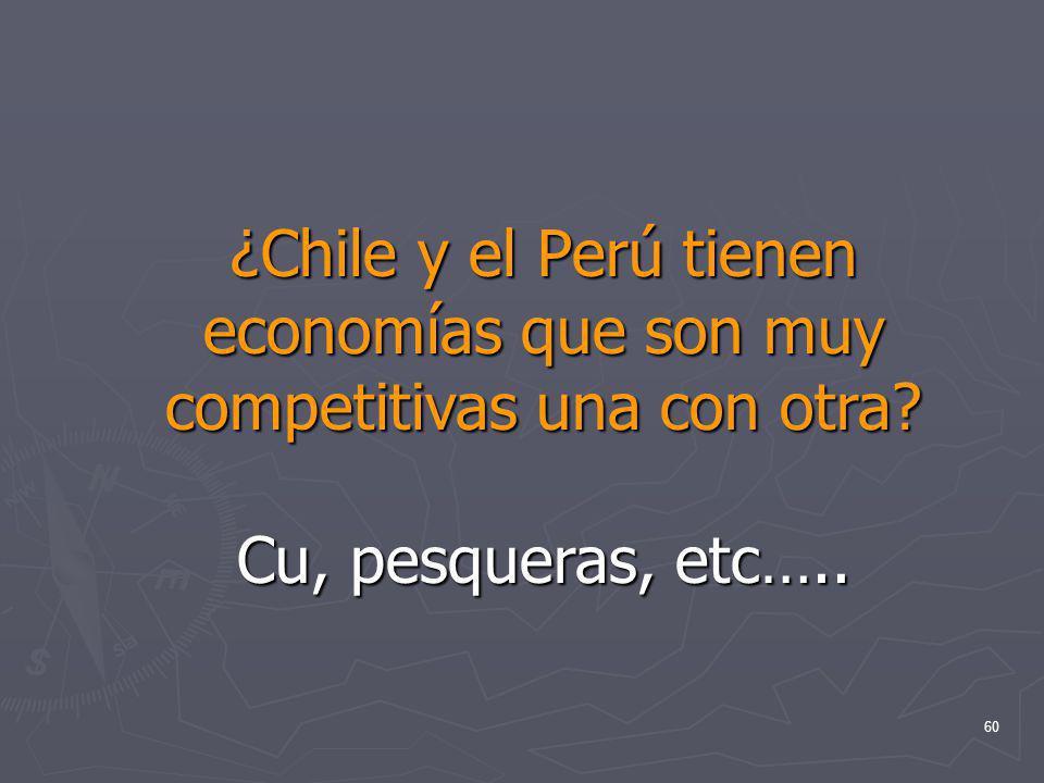 ¿Chile y el Perú tienen economías que son muy competitivas una con otra Cu, pesqueras, etc…..