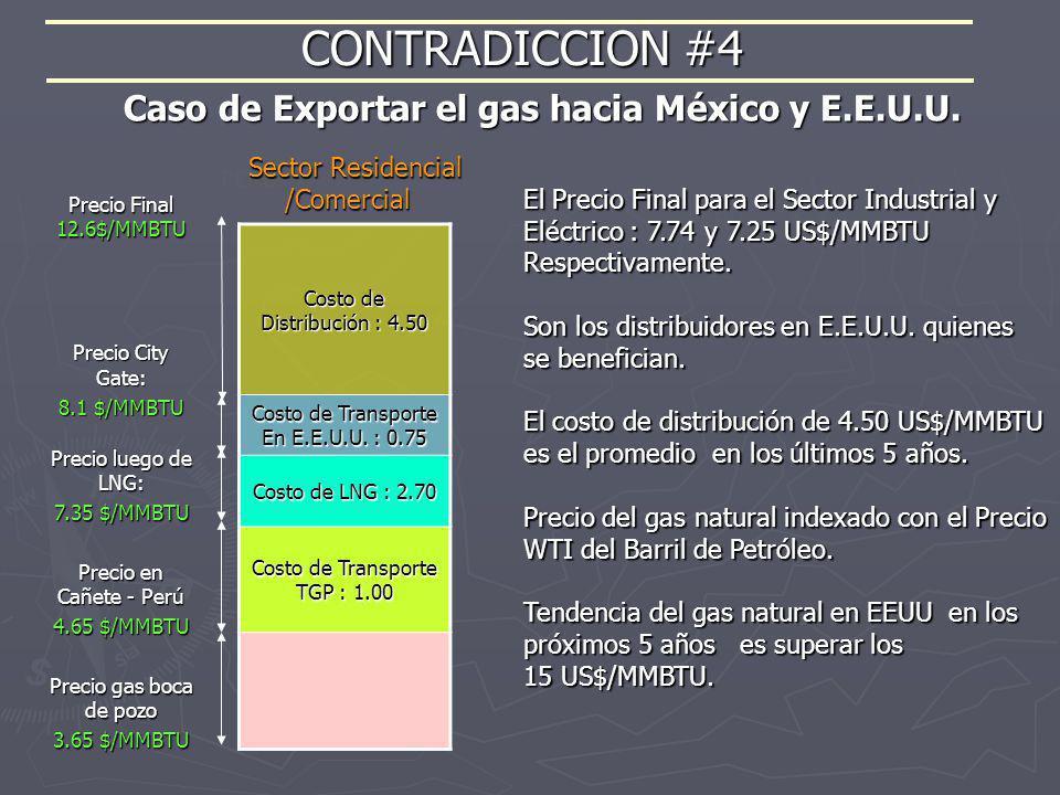 CONTRADICCION #4 Caso de Exportar el gas hacia México y E.E.U.U.