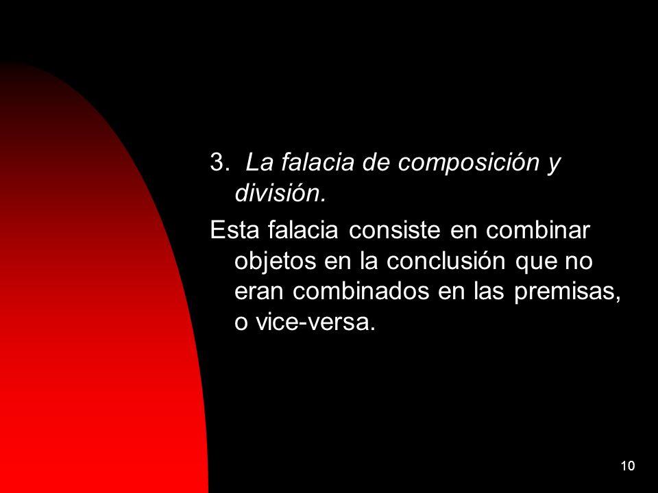 3. La falacia de composición y división.