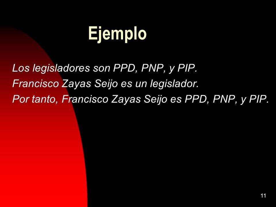 Ejemplo Los legisladores son PPD, PNP, y PIP.