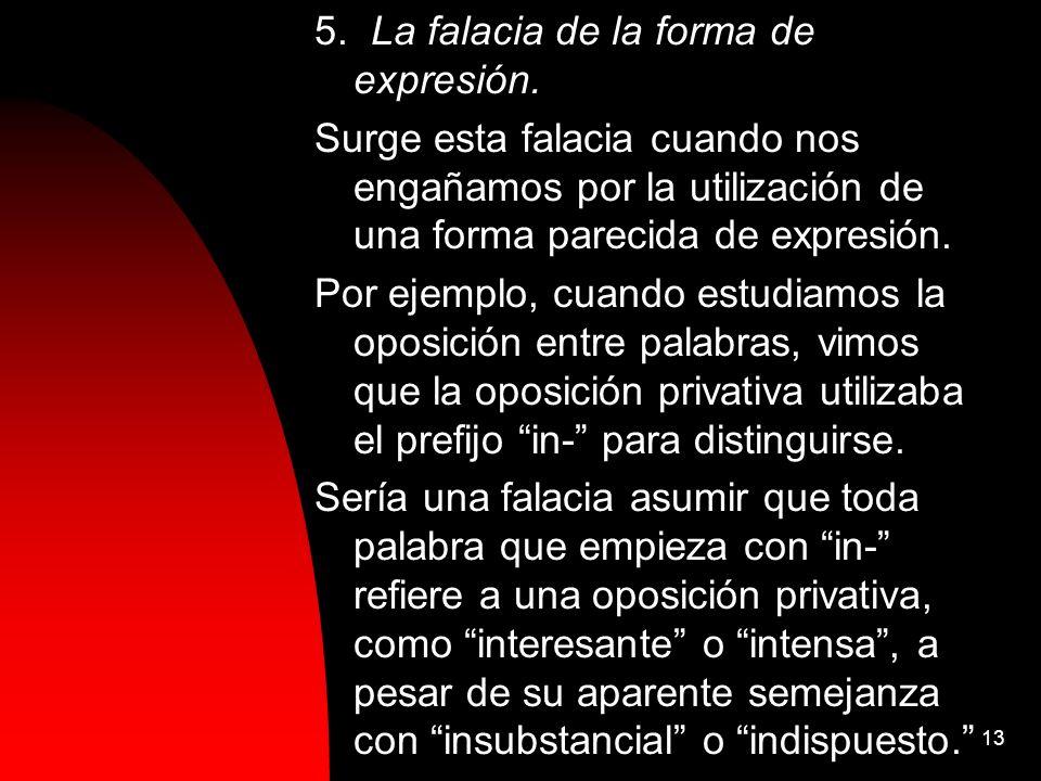 5. La falacia de la forma de expresión.