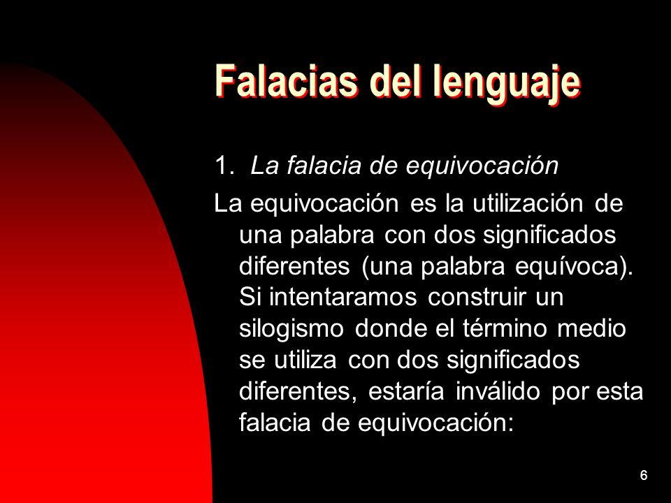 Falacias del lenguaje 1. La falacia de equivocación