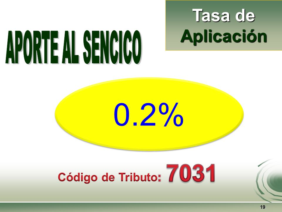Tasa de Aplicación APORTE AL SENCICO 0.2% Código de Tributo: 7031