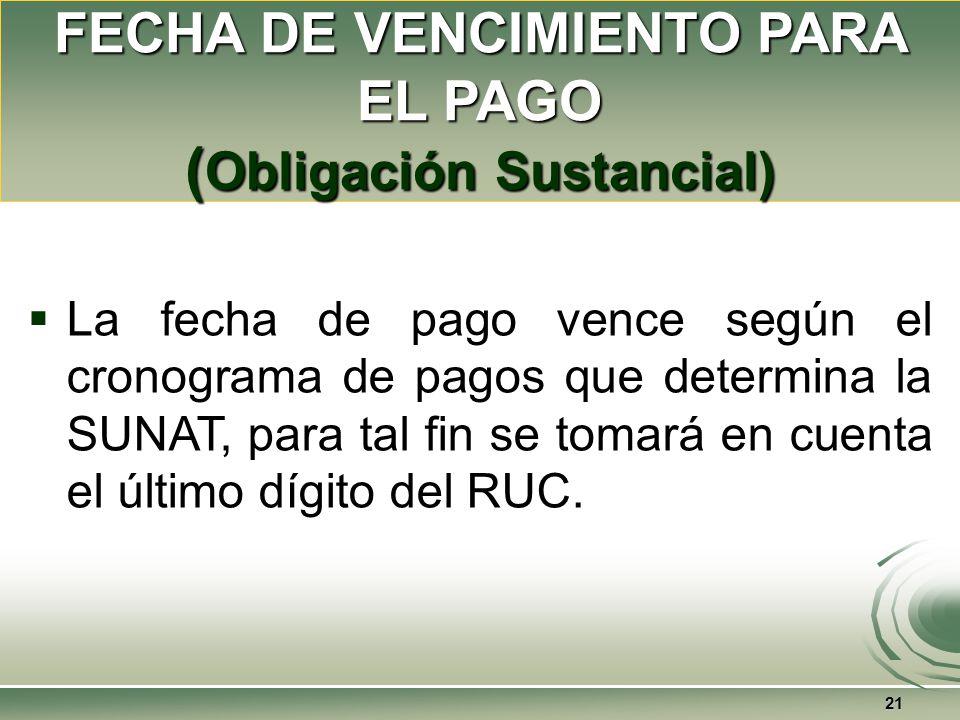 FECHA DE VENCIMIENTO PARA EL PAGO (Obligación Sustancial)