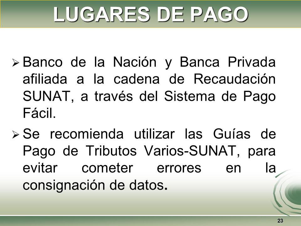 LUGARES DE PAGO Banco de la Nación y Banca Privada afiliada a la cadena de Recaudación SUNAT, a través del Sistema de Pago Fácil.