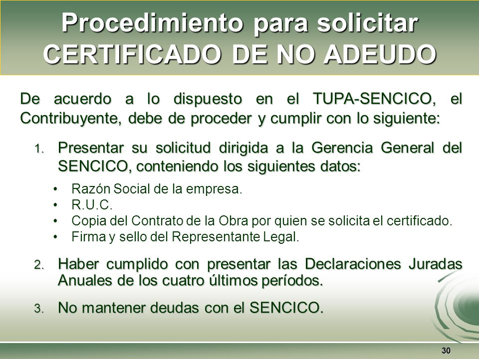 Procedimiento para solicitar CERTIFICADO DE NO ADEUDO