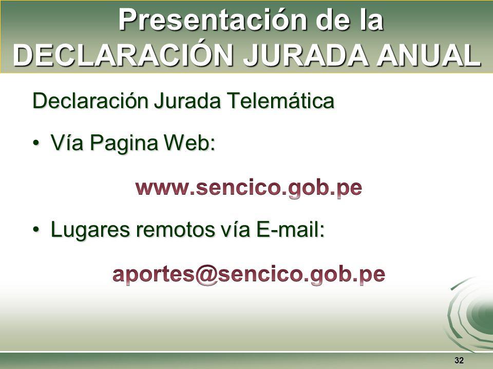 Presentación de la DECLARACIÓN JURADA ANUAL