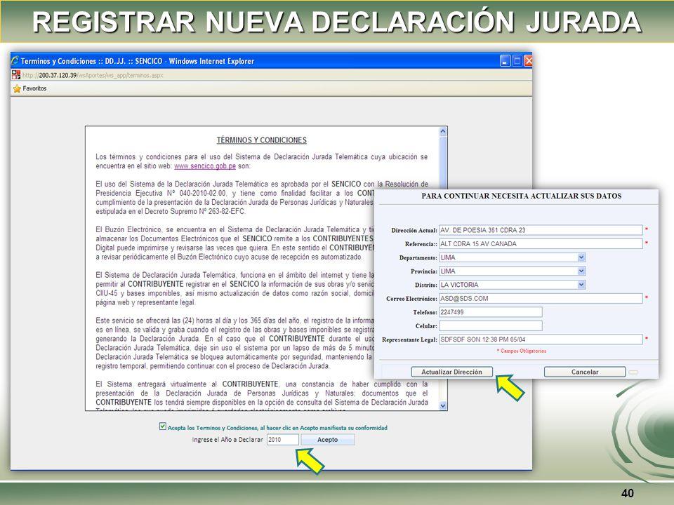REGISTRAR NUEVA DECLARACIÓN JURADA