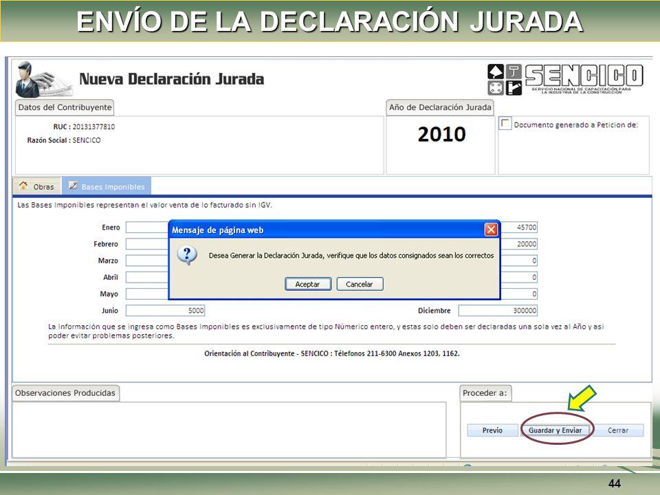 ENVÍO DE LA DECLARACIÓN JURADA