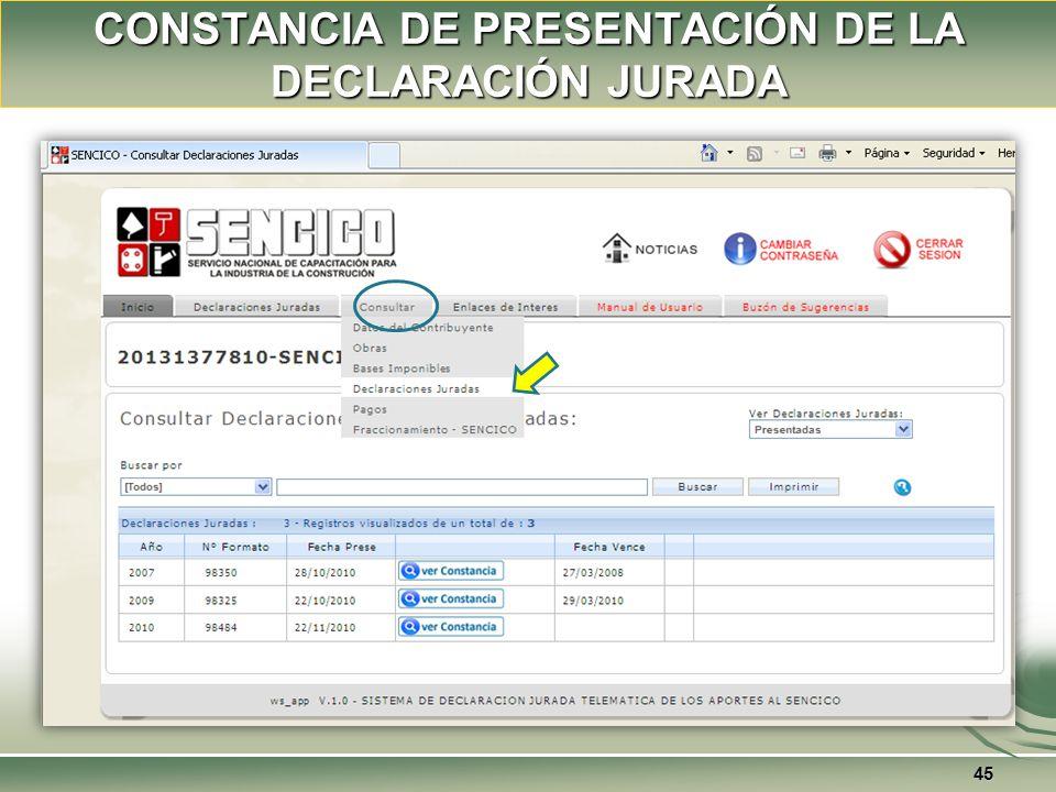CONSTANCIA DE PRESENTACIÓN DE LA DECLARACIÓN JURADA