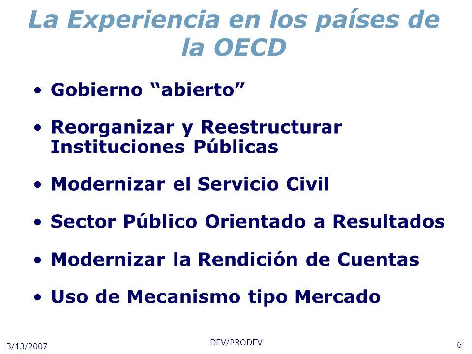 La Experiencia en los países de la OECD