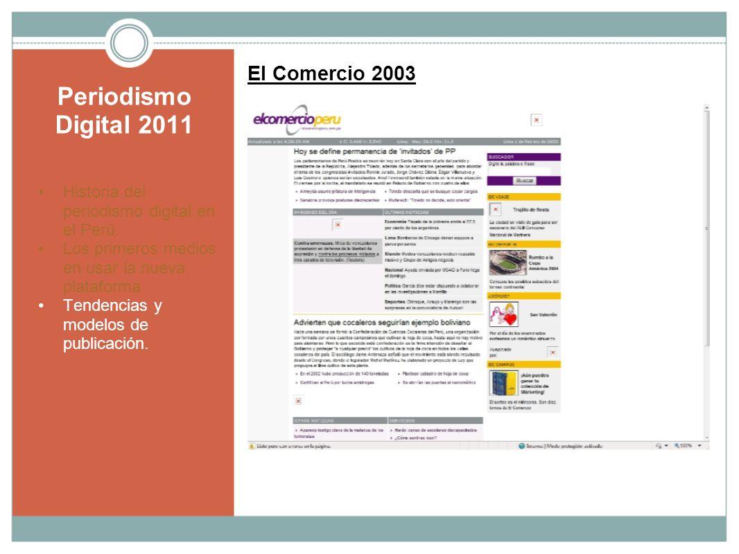 Periodismo Digital 2011 El Comercio 2003