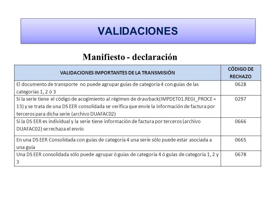 VALIDACIONES IMPORTANTES DE LA TRANSMISIÓN